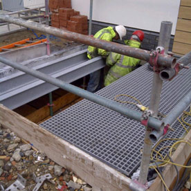 Risergrate during install on GRP I beam